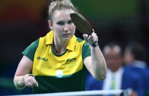 Australian Paralympian Milly Tapper playing Table Tennis