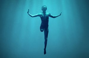 """A caucasian woman is suspended underwater, her right leg ends above the knee, she is wearing a swimsuit and has outstretched arms. White text superimposed on the photo that reads """"A Netflix Original Documentary Rising Phoenix 26 August Netflix"""