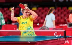 Australian Para-table tennis player Milly Tapper playing a shot at Tokyo 2020