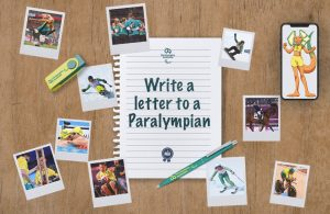 A birds eye view look down at a wooden desk with several images of winter and summer Paralympians. The text reads: Write a letter to a Paralympian.